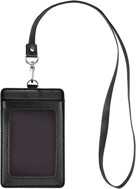 Upright Horizontal Badge ID Card Holder Protect Case Cover /& Lanyard Neck Strap