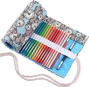 abaría - Estuche Enrollable para 72 lapices Colores, portalápices de Lona - Azul Flor 72 (No Incluyendo los lápices): Amazon.es: Hogar