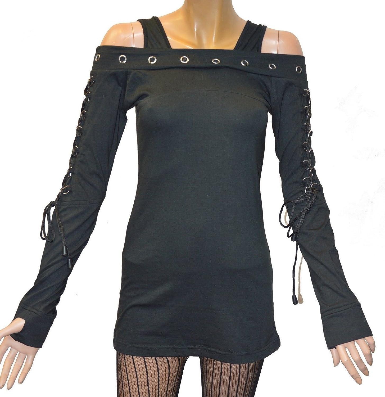 Damen Gothic Punk Shirt Longsleeve Langarm Top Schwarz NEU/&OVP