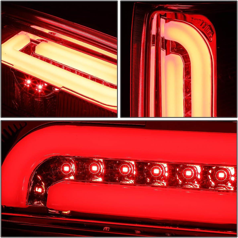 DNA Motoring TL-F15094-LED-3D-CH-RD Pair 3D LED Bar Tube Tail Light Rear Brake Lamps Set Replacement