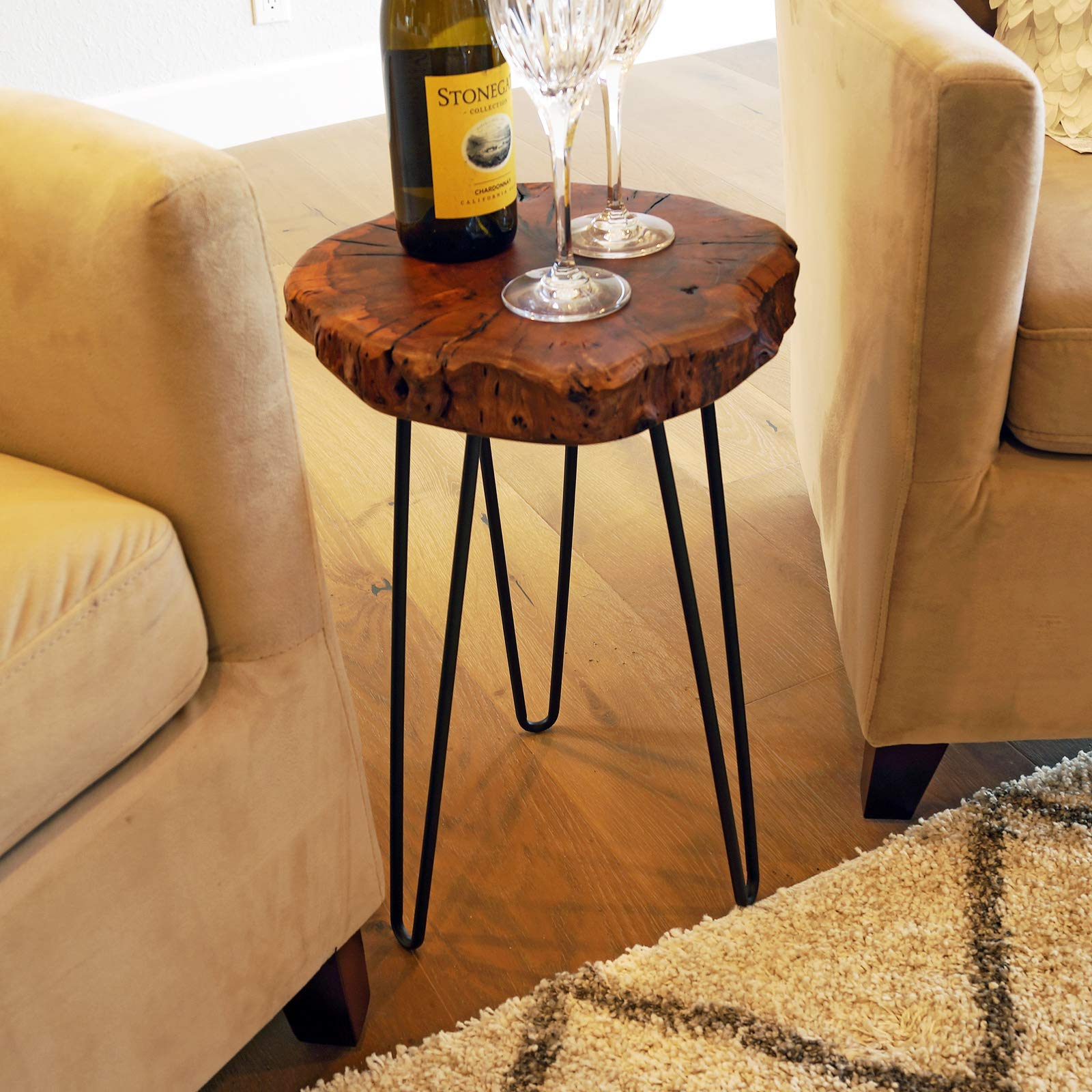 WELLAND Unique Shape Natural Wood Stump Rustic Surface End Table by WELLAND