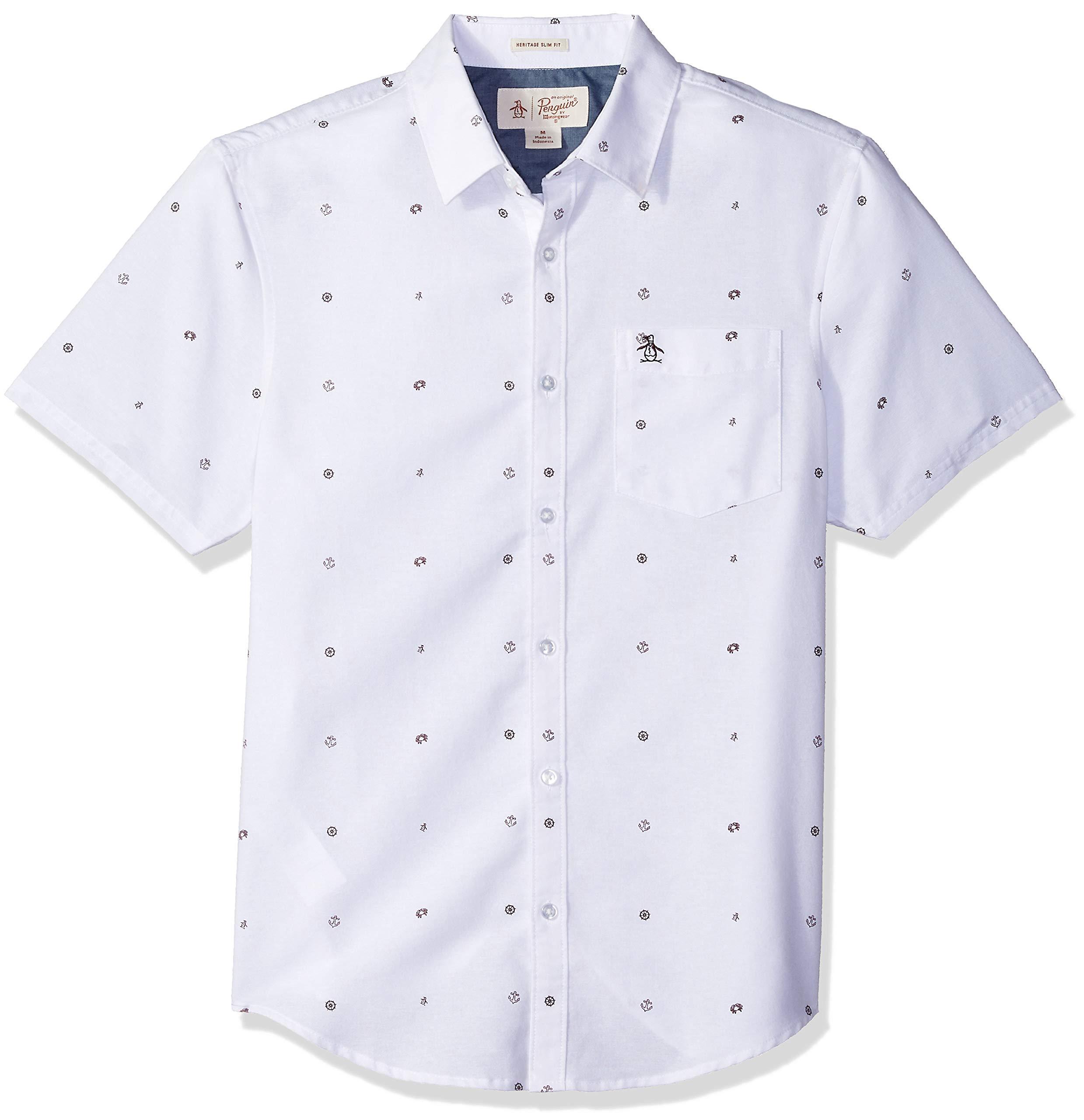 Original Penguin Men's Nautical Theme Oxford Shirt, Bright White, Large