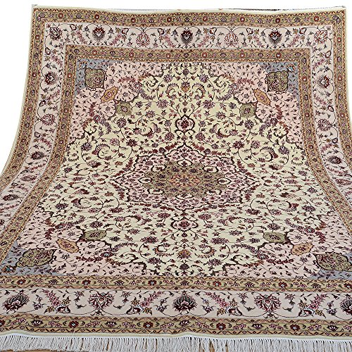 Yilong 8'x10′ Hand Knotted Wool Silk Rug Tabriz Floral Handmade Oriental Traditional Thick Area Rugs Home Decor Carpet…