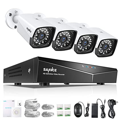 SANNCE Kit de Seguridad XPOE 1080P 4CH NVR y 4 IP Cámaras de vigilancia 2MP IP66