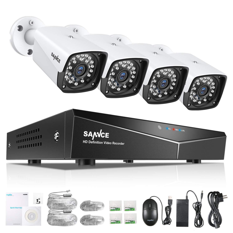 SANNCE Kit de Seguridad XPOE 1080P 4CH NVR y 4 IP Cámaras de ...