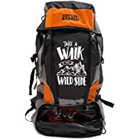 Mufubu Presents Get Unbarred 55 LTR Rucksack for Trekking, Hiking with Shoe Compartment (Black/Orange)