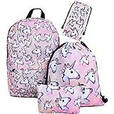 Leah's fashion® Einhörner Sachen Reisen kinderrucksack einhorn Freizeit Einhorn Rucksack mit Turnbeutel& einhorn pinsel Mäppchen für Kinder-Pack of 4