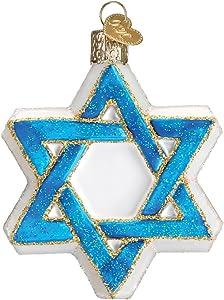 Old World Christmas Hanukkah Glass Blown Ornaments for Christmas Tree Star of David