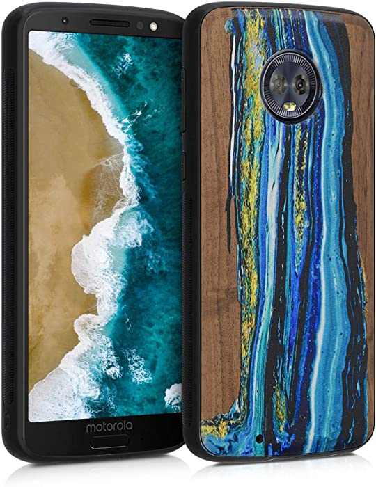 kwmobile Wooden Case Compatible with Motorola Moto G6 - TPU Bumper - Watercolor Waves Blue/Brown