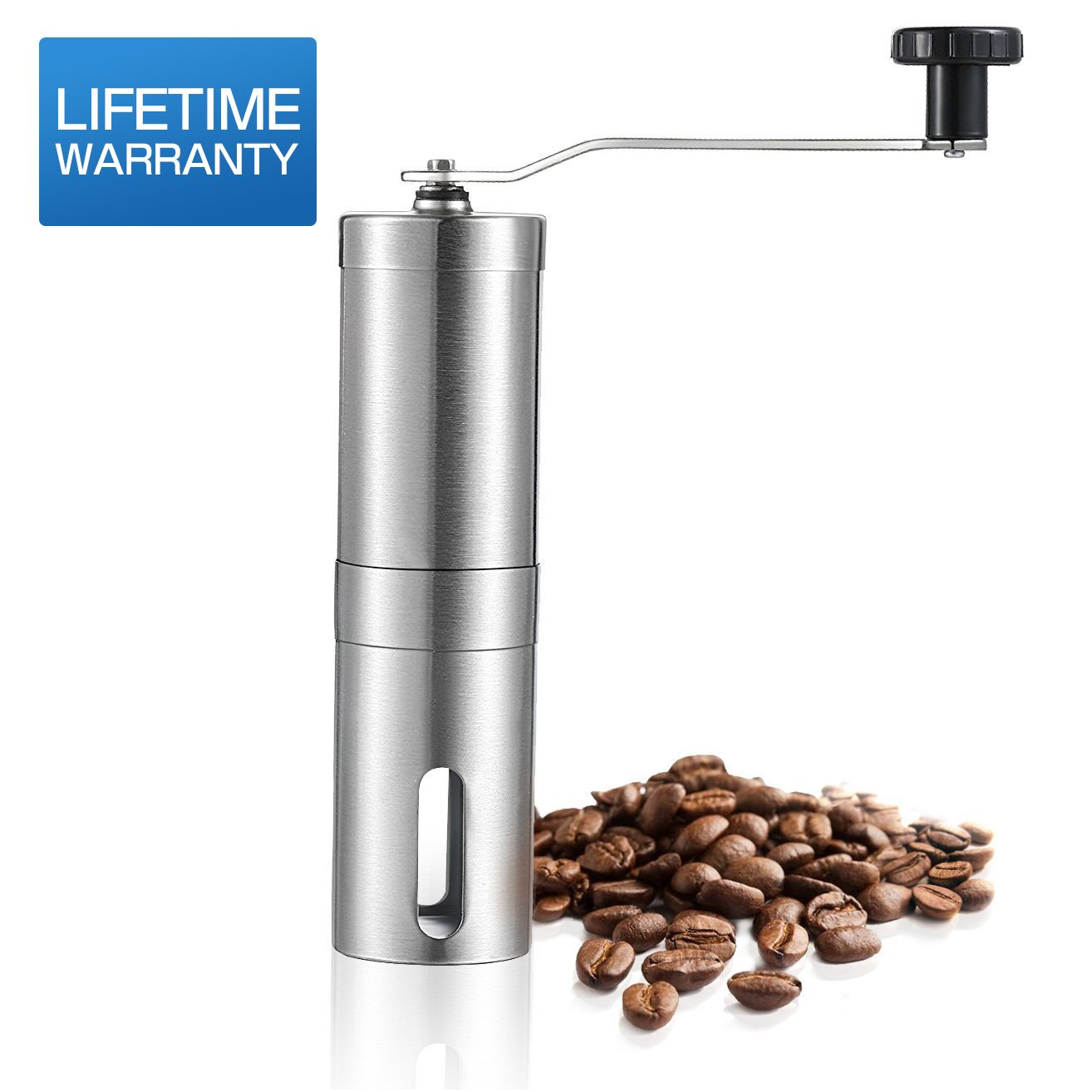 AmazeFan Coffee Grinder, Premium Quality Stainless Steel Manual Coffee Grinder - Adjustable Hand Grinder - Mini Portable Conical Burr Mill for Precision Brewing - 90-day Full Refund Guarantee by AmazeFan