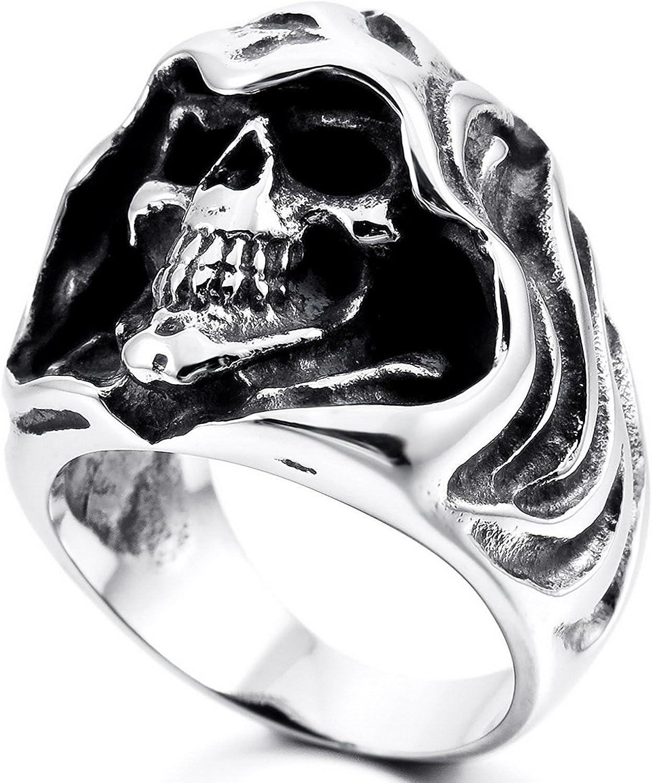 MENDINO Mens Stainless Steel Ring Gothic Casted Grim Reaper Skull Black Silver