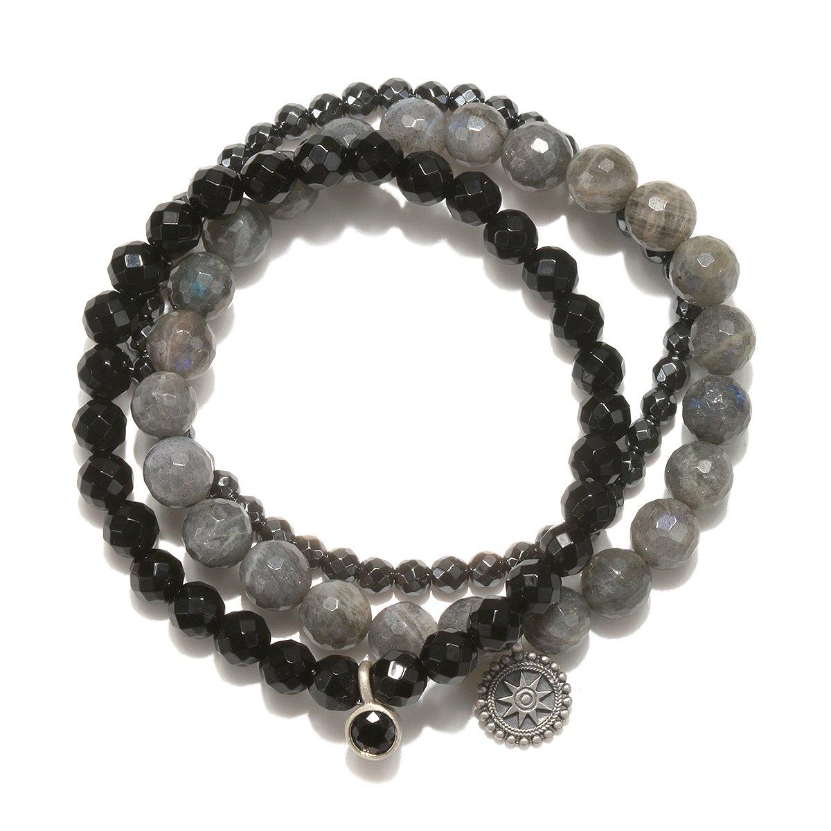 Satya Jewelry Labradorite, Black Onyx, Hematite Sterling Silver Mandala Stretch Bracelet by Satya Jewelry
