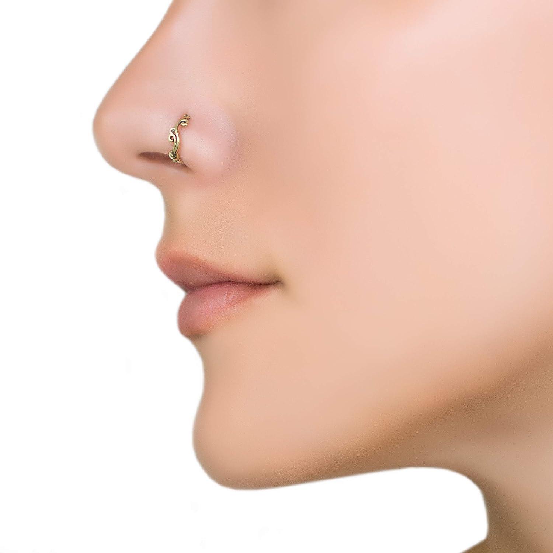 Amazon Com Gold Nose Ring Brass Unique Indian Boho Nose Hoop