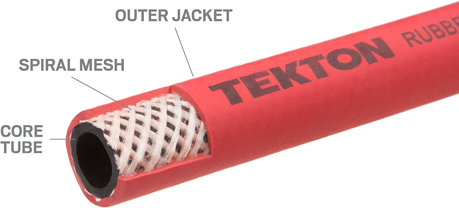 """TEKTON 1//2/"""" ID x 6/' RUBBER Air Whip Lead In Jumper Hose 250 PSI USA Made 46363"""