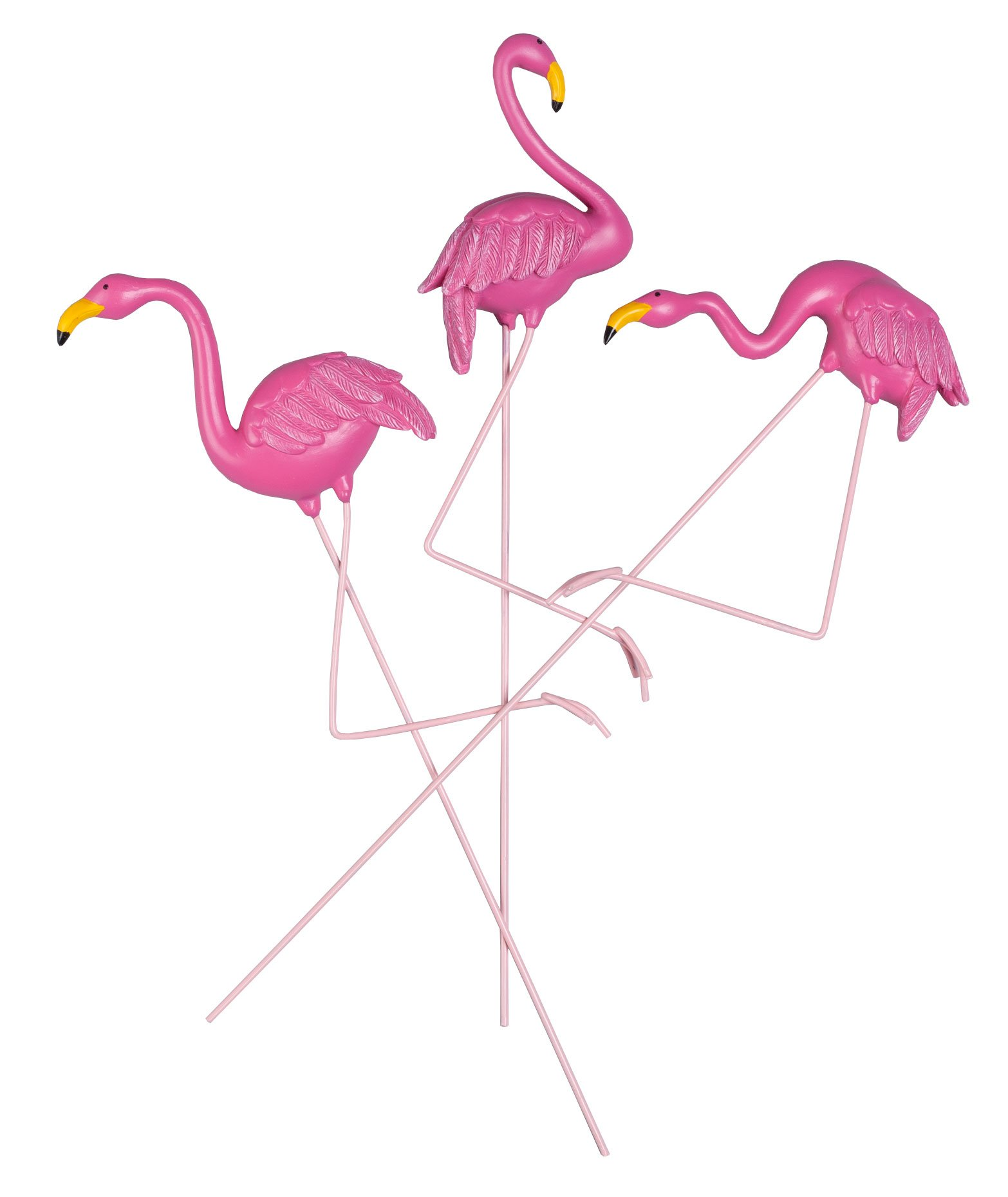 Flamingo Planter Stakes, Set of 3 by Maple Lane CreationsTM