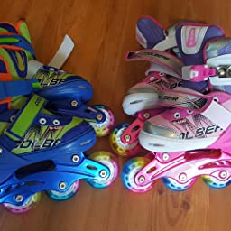 Amazon Com Otw Cool Adjustable Inline Skates For Kids Girls Rollerblades With All Wheels Light Up Safe And Durable Inline Roller Skates For Girls Sports Outdoors
