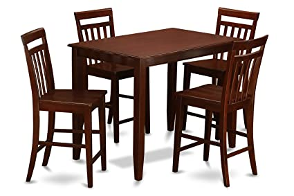 East West Furniture BUEW5 MAH W 5 Piece Pub Table Set, Mahogany