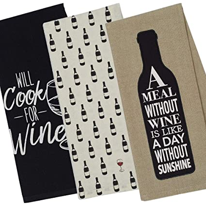 Amazon Com Wine Kitchen Towels Set Of 3 Funny Wine Themed