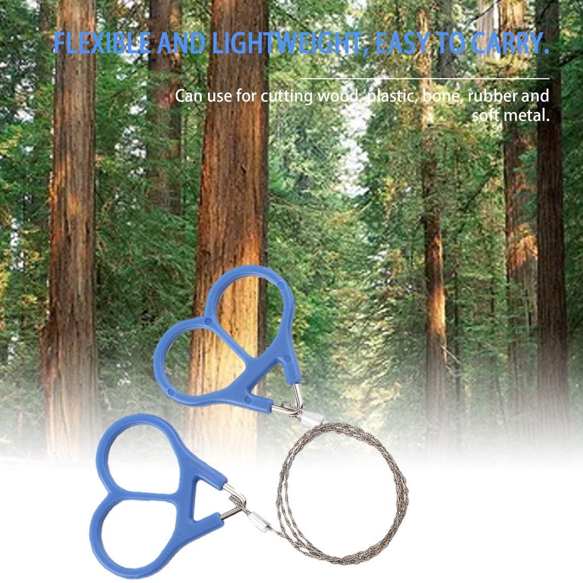 73JohnPol Herramienta de Supervivencia de Emergencia Resistente al Aire Libre de Alambre de Sierra de Acero protable de Alta Resistencia para Acampar al Aire Libre Color: Plata
