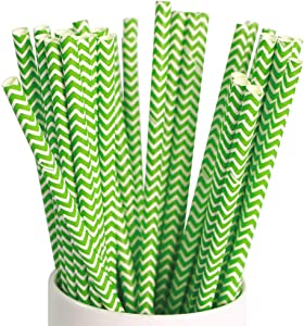 Webake Chevron Paper Straws Wave Patterned Drinking Straws, 100 Bulk 7.75 Inch Disposable Biodegradable Straws Restaurant Supplies Party Decorations, Christmas Green Striped