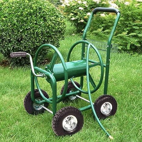 Paylesshere Garden Hose Reel Cart With Wheels Heavy Duty Yard Water Planting Holds 300ft Hose 4 Wheel Watering Outdoor Landscape Storage Basket Green