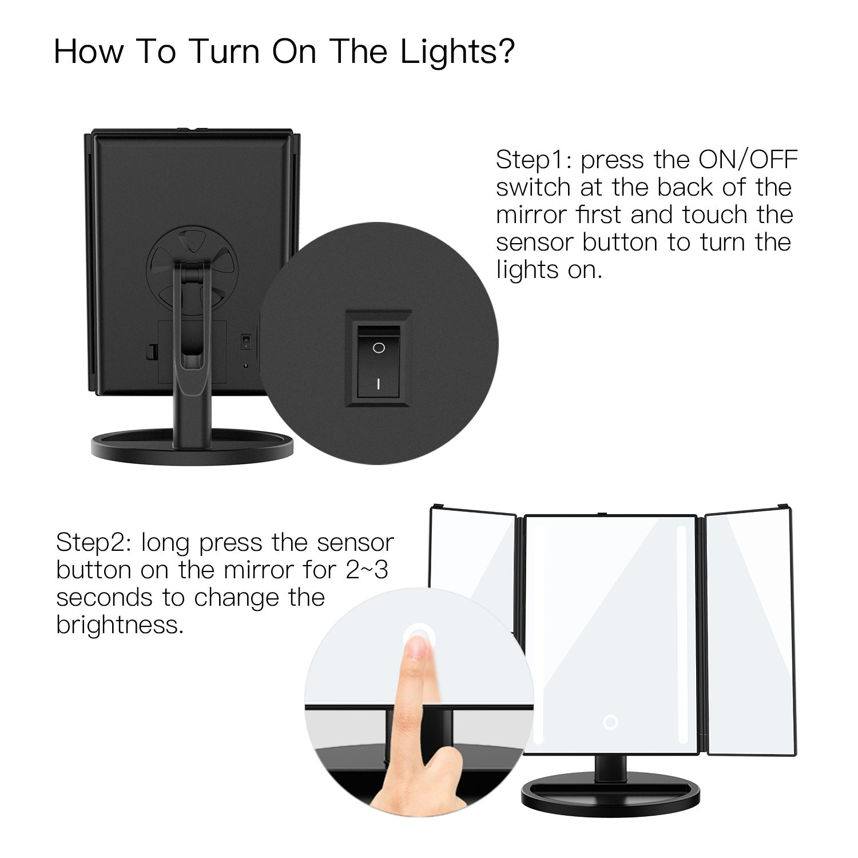 Specchio Trucco Illuminato con Rotazione 180/° con 24 Luci LED Touch Screen Regolabile Tri-Pieghevole Specchio BESTOPE Specchio per Trucco Ingranditore 10x 3X 2X 1x