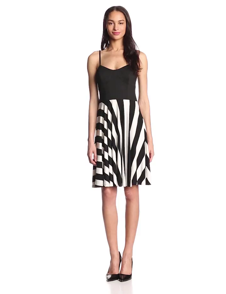 Trina Trina Turk Women's Briana Graphic Stripe Bustier Dress