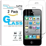 KATIN iPhone 4S Screen Protector, iPhone 4 Screen Protector - [2-Pack] For Apple iPhone 4S / iPhone 4 Tempered Glass 9H Hardness with Lifetime Replacement Warranty