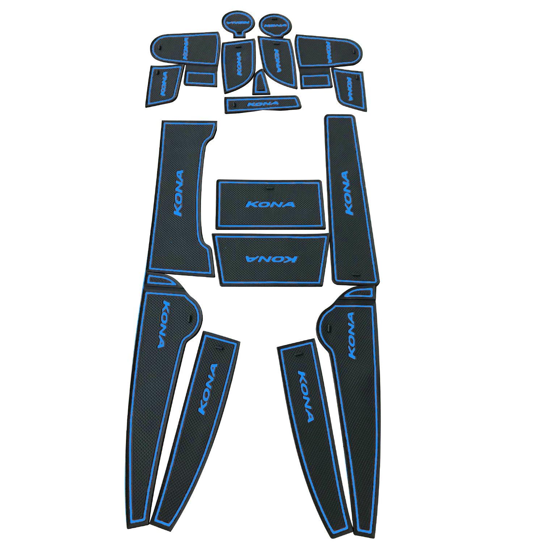 BLUE Anti-dust RUIYA Non-Slip Car Interior Door Cup Arm Box Storage Mat Pad for 2018 Kona Door Slot Pad,Cup Mat,Automotive Decoration with LOGO,18pcs//Set