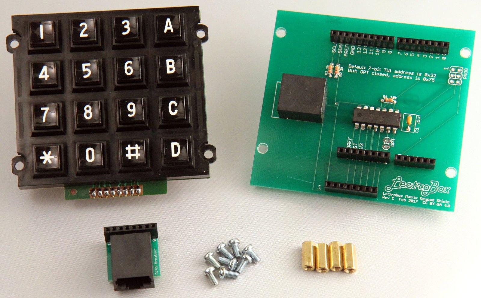 Lectrobox Arduino Keypad Shield with 16-Button Matrix Keypad