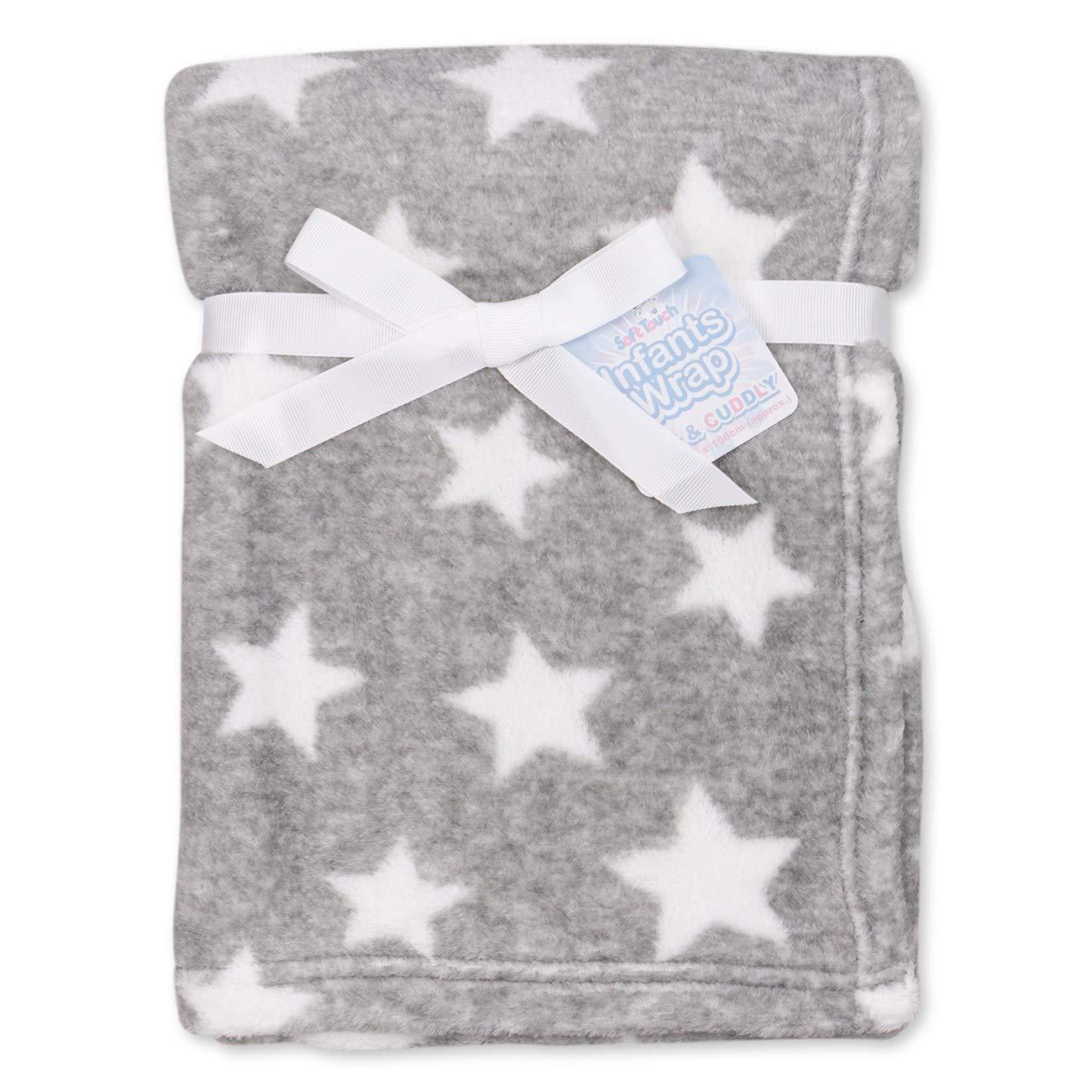 Soft Touch Baby Decke Unisex grau weiß   Motiv: Sterne   Babydecke mit Sternenmotiv für Neugeborene & Kleinkinder