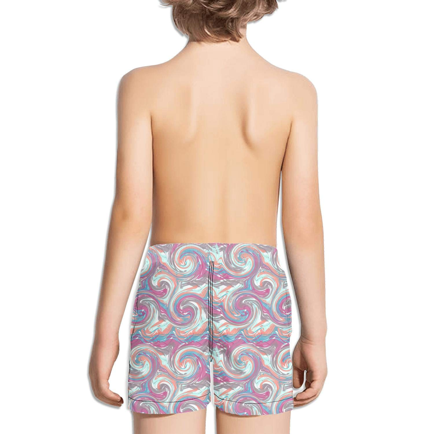 BingGuiC Boys Quick Dry Shorts Abstract Paint Strokes Geometric Colorful Fashion Swim Trunks