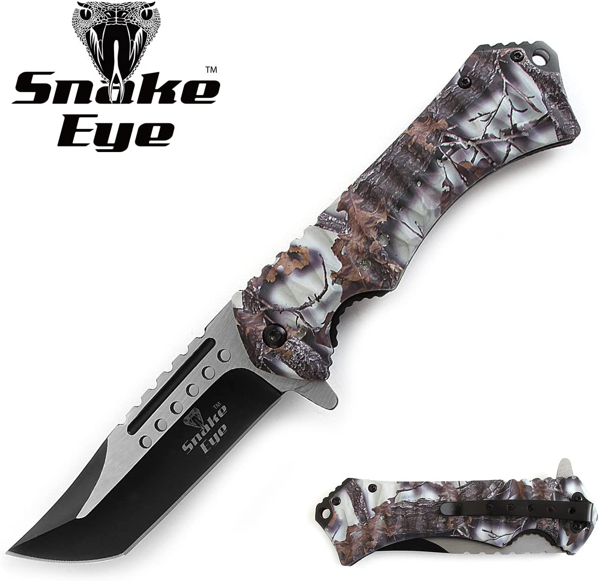 Snake Eye Tactical Action Assisted Folding Pocket Knife Outdoors Camping Fishing Hunting Snow Camo
