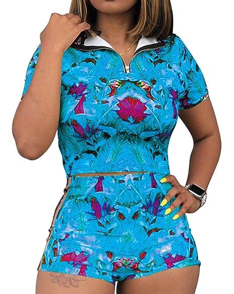 Amazon.com: Traje de mujer de 2 piezas con diseño floral de ...