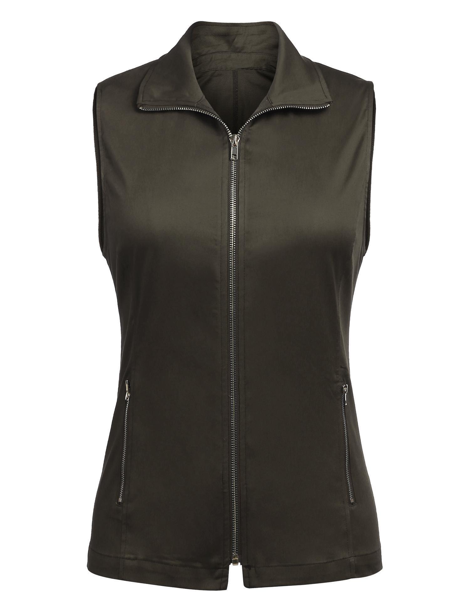 Dealwell Women's Outdoor Lightweight Sleeveless Military Jacket Vest With Zipper (Army Green L) by Dealwell