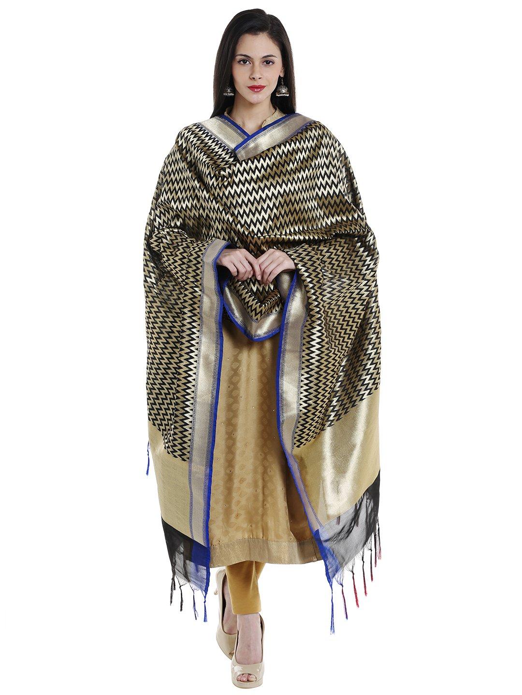 Dupatta Bazaar Woman's Black & Gold Woven Banarasi Silk Dupatta