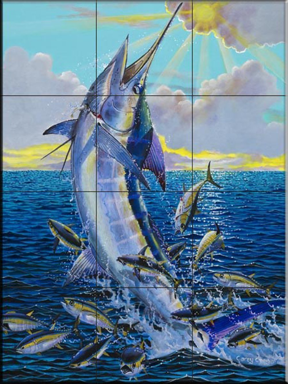 Ceramic Tile Mural Marlin By Carey Chen Kitchen Backsplash