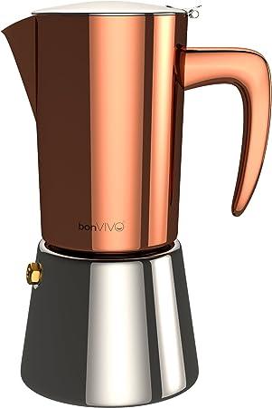 bonVIVO Intenca Cafetera Italiana Express De Inducción De Acero Inoxidable con Acabado Cobre, para Espresso con ...