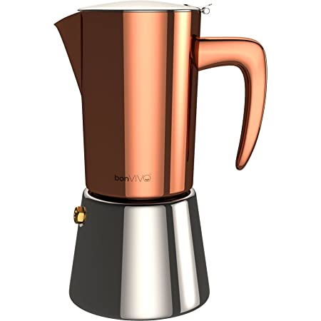 bonVIVO Intenca Cafetera Italiana Express De Inducción De Acero Inoxidable - Cafeteras Express para Espresso - Color Cobre