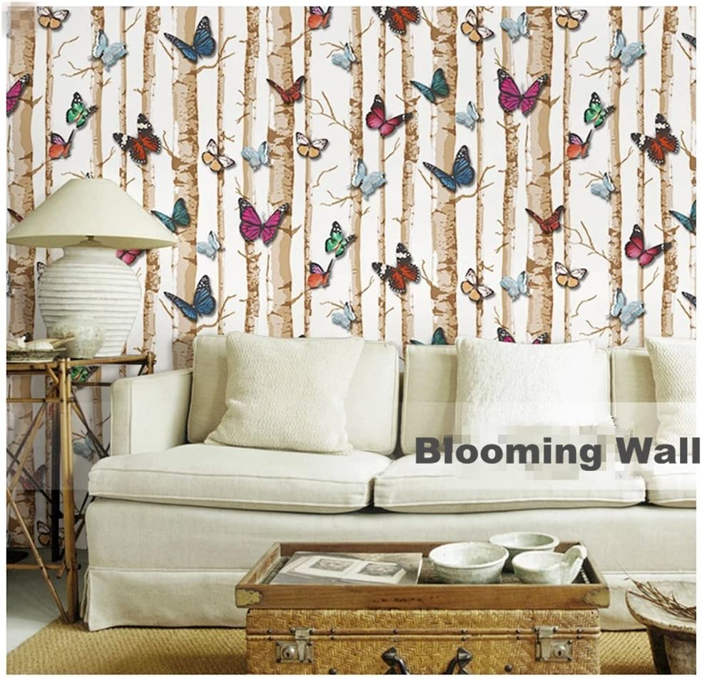 Yellow 3d Modern Minimalist Tree Pattern with Butterfly Wallpaper Roll For Livingroom Bedroom 20.8 In32.8 Ft=57 Sq.ft