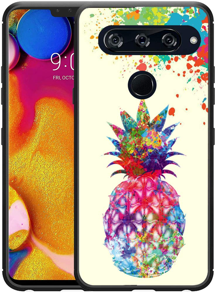 V40 ThinQ Case Pineapple/IWONE Designer Durable Protective Cover Shockproof Compatible for LG V40 [V40 ThinQ] Colorful Creative Painting Cute Pineapple Fruit Color Art Design
