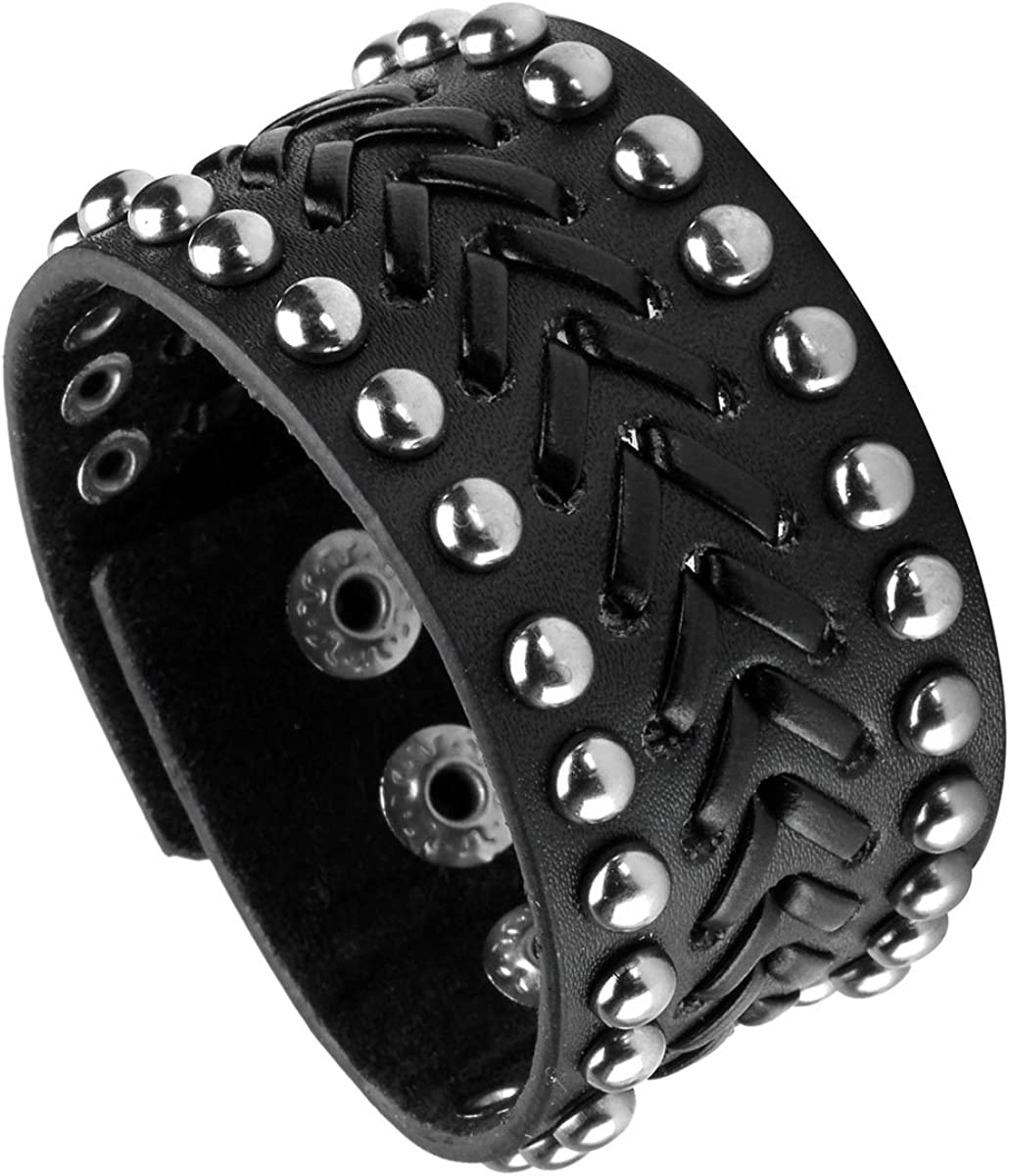 EIGSO Vintage Spike Studded Rock Punk Biker Wide Strap Leather Bracelet Goth Rivet Buckle Wristband