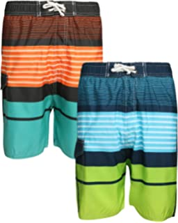 b967387b2e Amazon.com: Quad Seven Boys Printed Swim Trunks (2 Pack): Clothing
