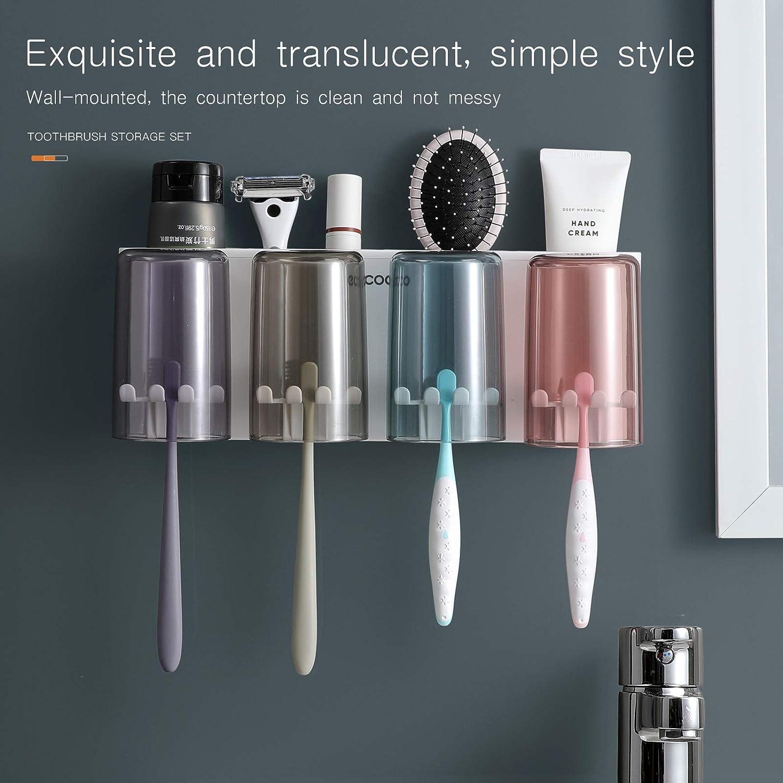 MOPMS Multifunctional Wall-Mounted Toothbrush Holder, Bathroom Space Saving Toothbrush Organizer - 4 Cups: Kitchen & Dining