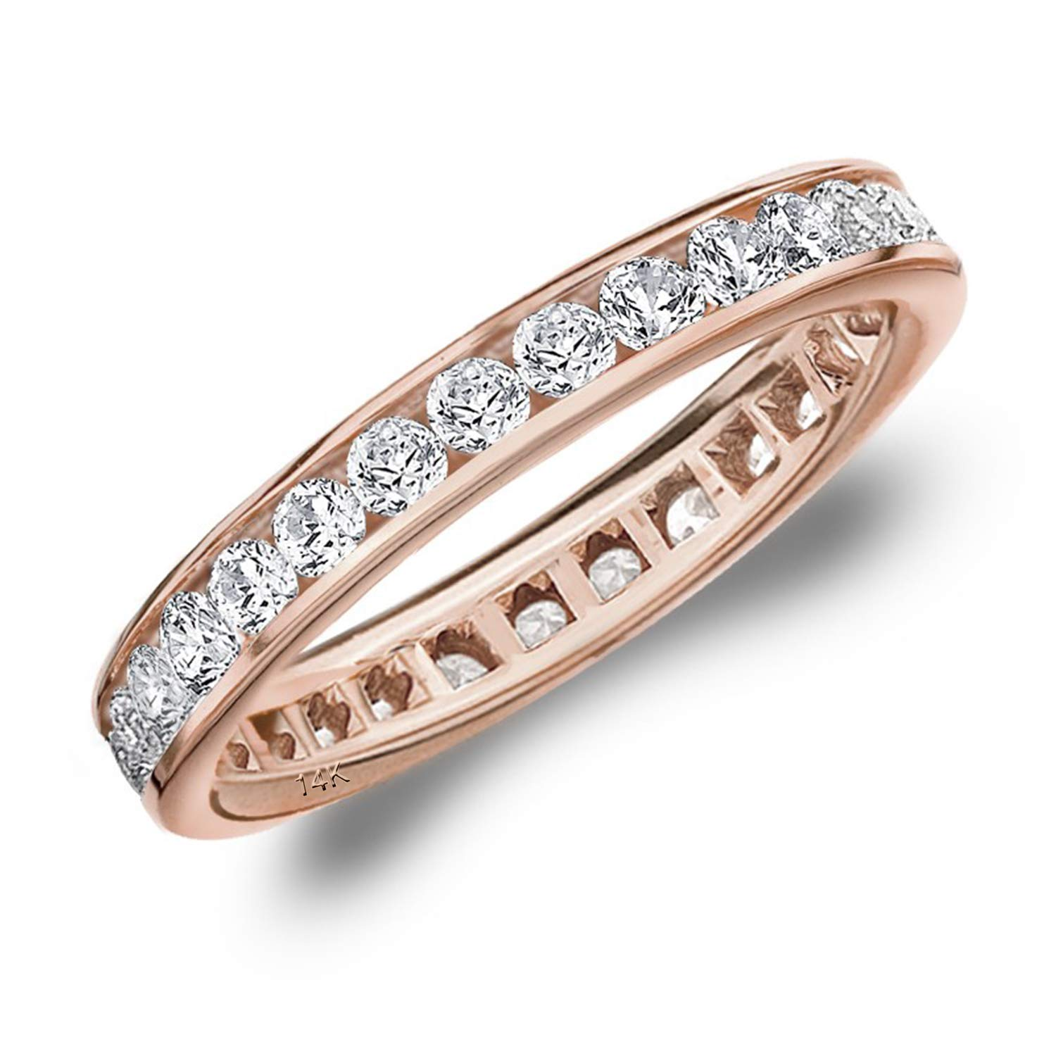 1CT Classic Channel Set Diamond Eternity Ring in 14K Rose Gold - Finger Size 8