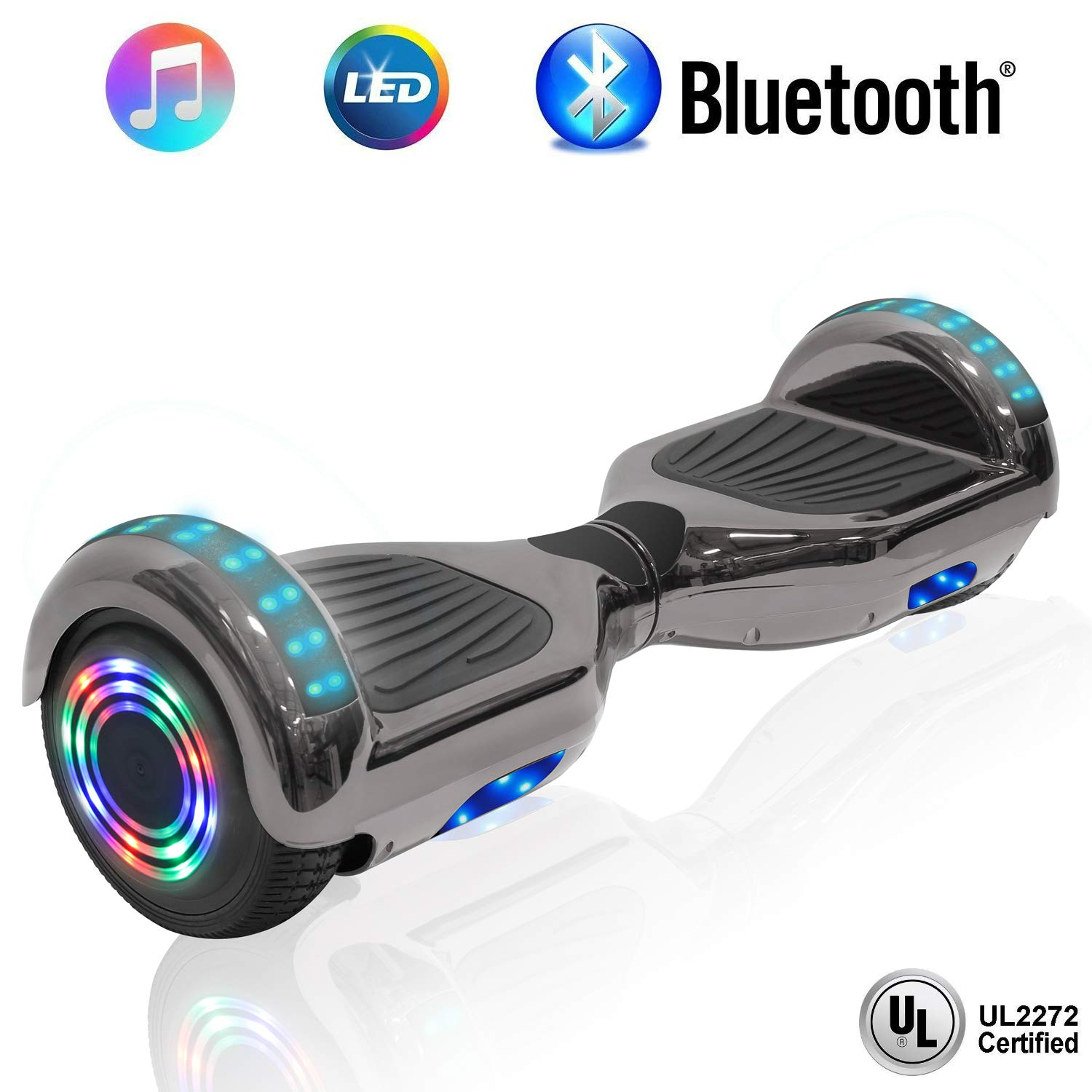 NHT 6.5'' Hoverboard Electric Self Balancing Scooter Sidelights - UL2272 Certified Black, Blue, Pink, Red, White (Chrome Black)