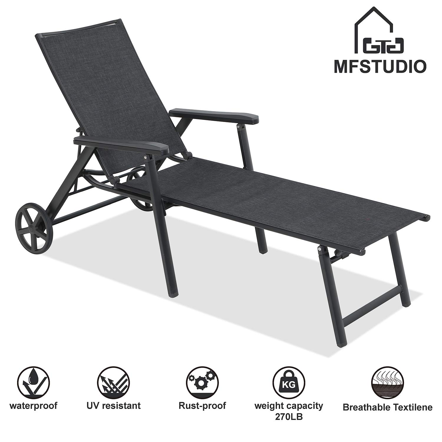 MF STUDIO Sling Chaise Folding Back Adjustable Patio Lounge Chairs Metal Textilene Lounger Recliner Chair W/Wheels, Black