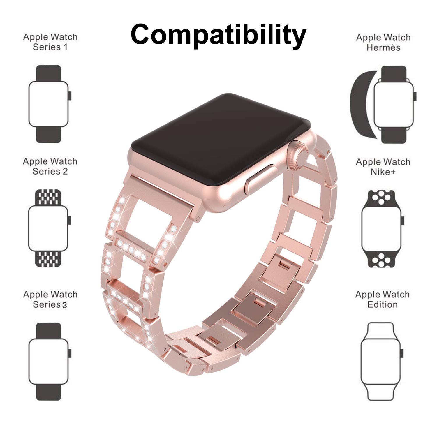 ITSHINY Apple Watch Strap 38mm 42mm, Adjustable Fashion Iwatch Bands Women, Replacement Metal Sport Strap Accessories Iwatch Series 3 2 1, Nike+, Edition (38mm, Rose Pink)
