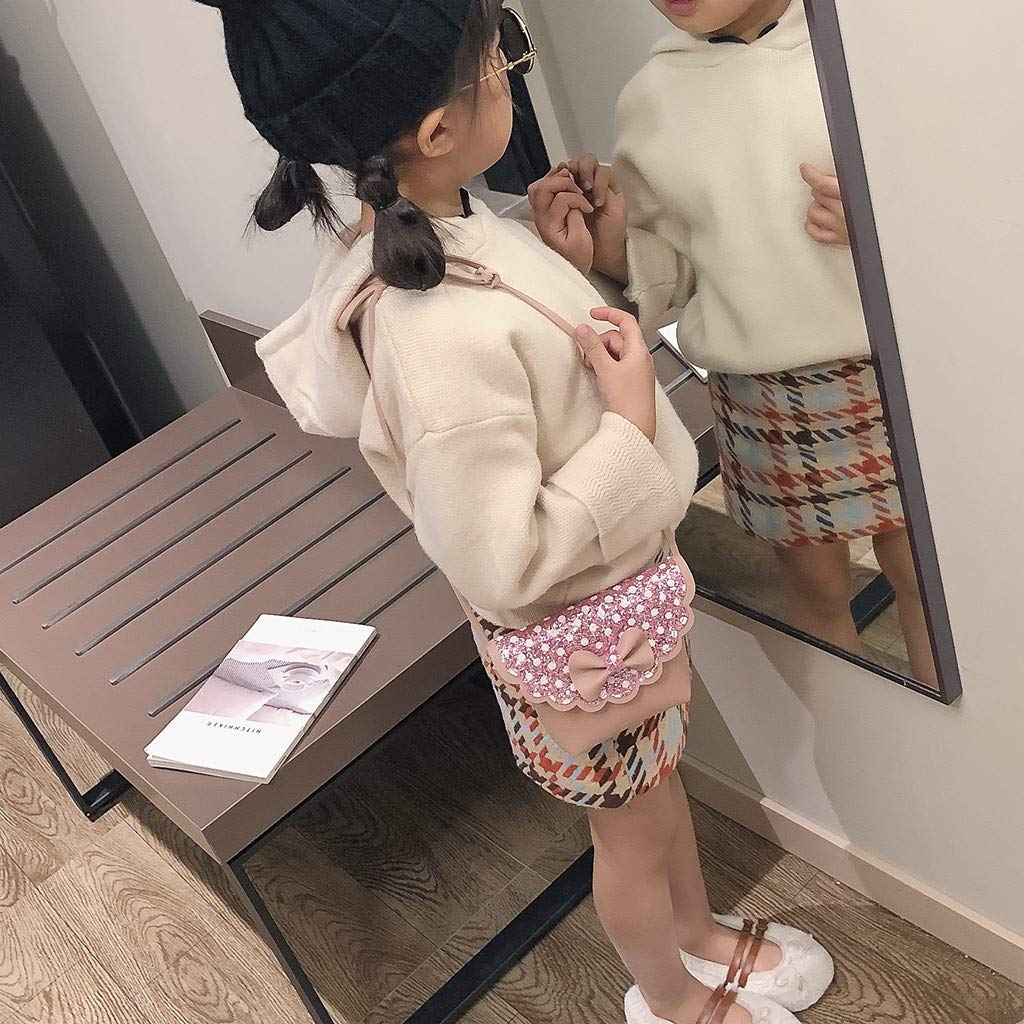 Baby Girls Casual Sequins Dot Bow Small Bag Princess Hasp Coin Purse Crossbody Package pollyhb Baby Messenger Bag
