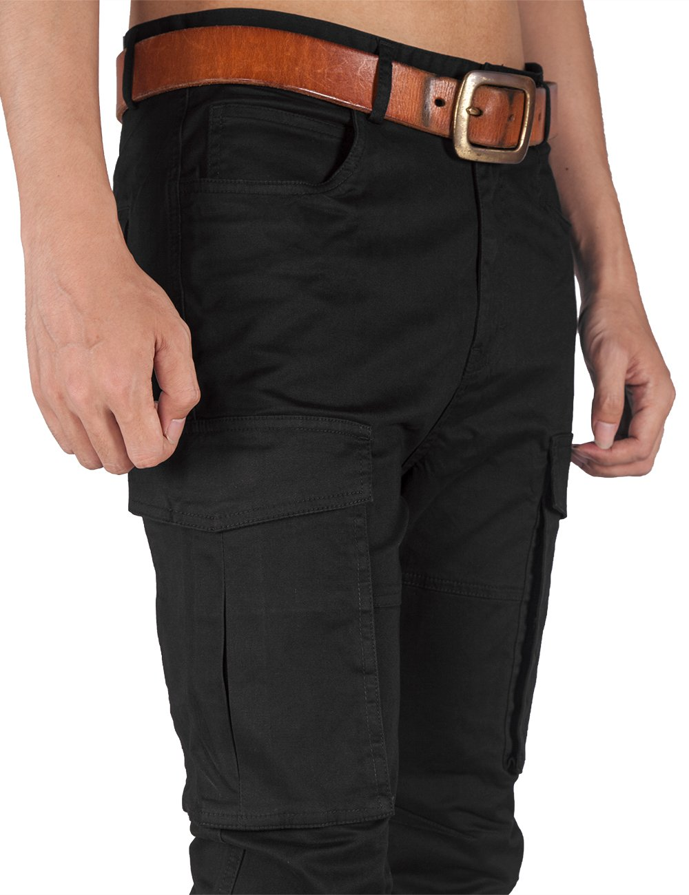 ITALY MORN Men Chino Cargo Jogger Pants Casual Twill Khakis Slim fit Black (S, Black) by ITALY MORN (Image #7)